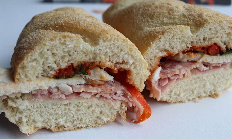 Asda Meat Feast Sub, cut in half