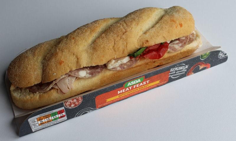 Asda Meat Feast Sub, cardboard tray