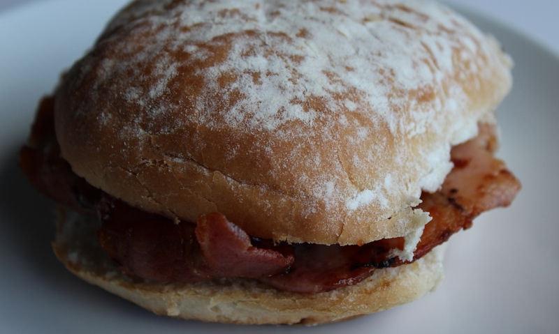Bacon in a floury white bap