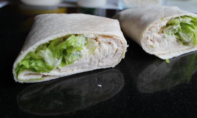 Cut in half chicken caesar wrap
