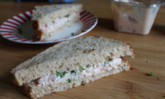 Tesco Prawn Cocktail Sandwich, on display