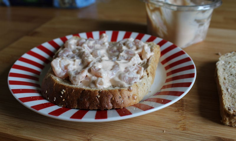 Tesco Prawn Cocktail Sandwich, spread over bread