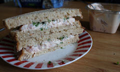 Tesco Prawn Cocktail Sandwich, stacked up