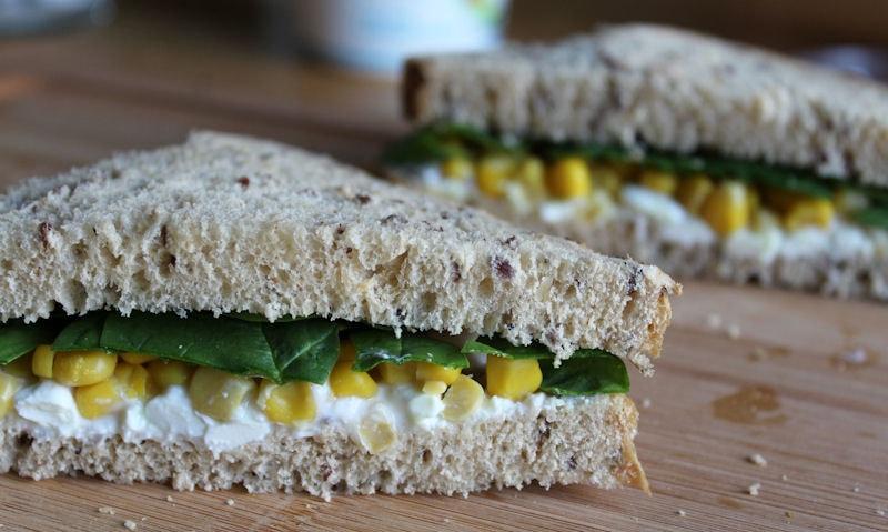 Cottage Cheese, Corn & Spinach Sandwich Recipe