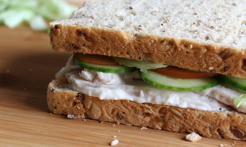 My own roast chicken salad sandwich made with an wholemeal bread