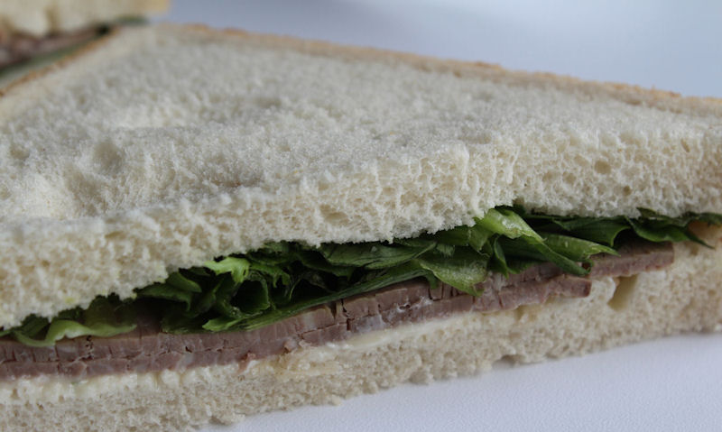 Tesco Beef & Horseradish Sandwich, closeup
