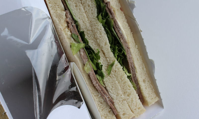 Tesco Beef & Horseradish Sandwich, ripped open