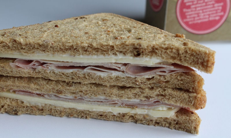 Tesco smoked ham and cheddar sandwich out of packet