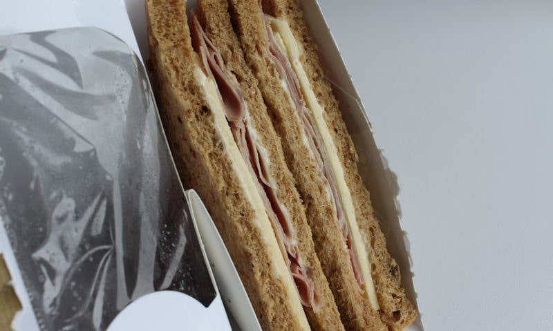 Tesco smoked ham and cheddar sandwich ripped open packet