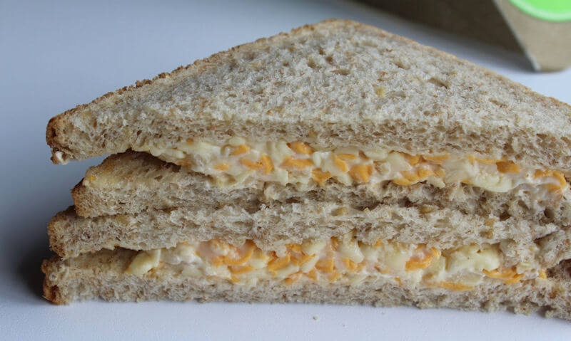Tesco Cheese & Onion Sandwich, piled up