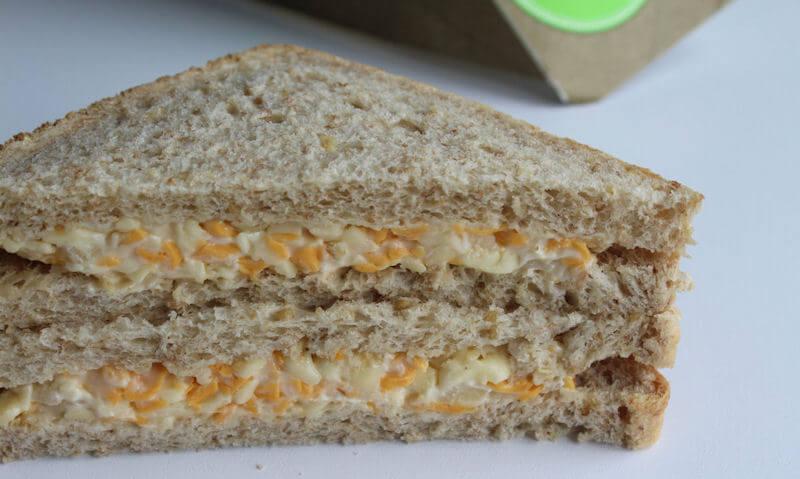 Tesco Cheese & Onion Sandwich, cut in half