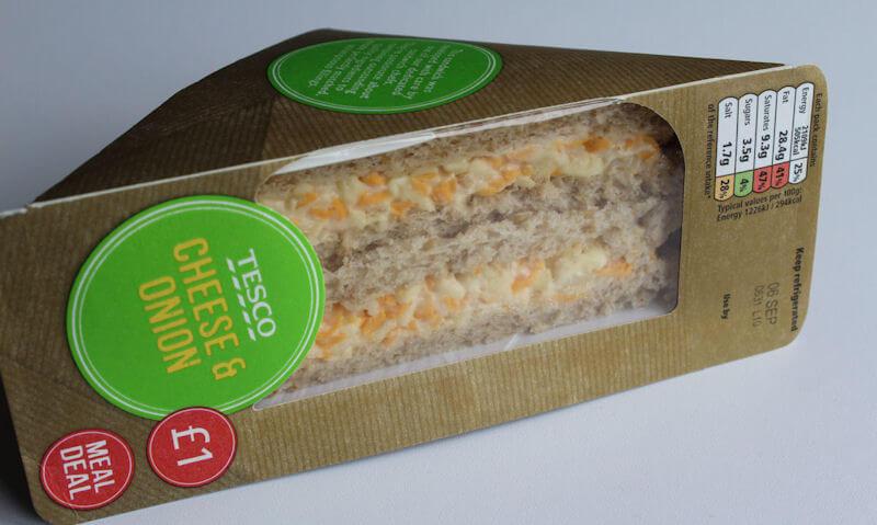 Tesco Cheese & Onion Sandwich, sided