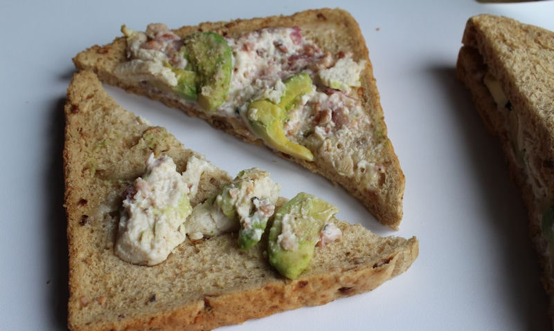 Opened up Tesco avocado sandwich with filling