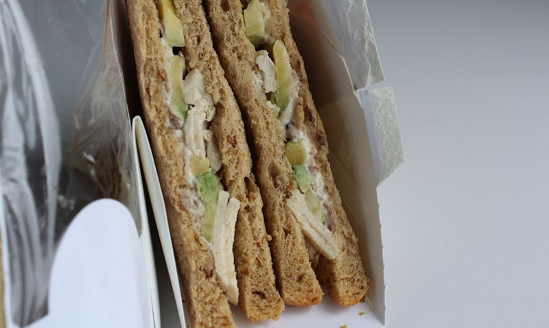 Opened pack of Tesco avocado sandwich