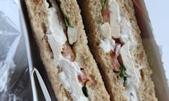 Tesco Chicken Salad Sandwich, close up