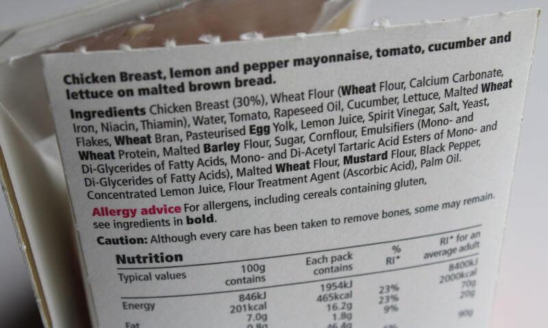 Tesco Chicken Salad Sandwich, package details