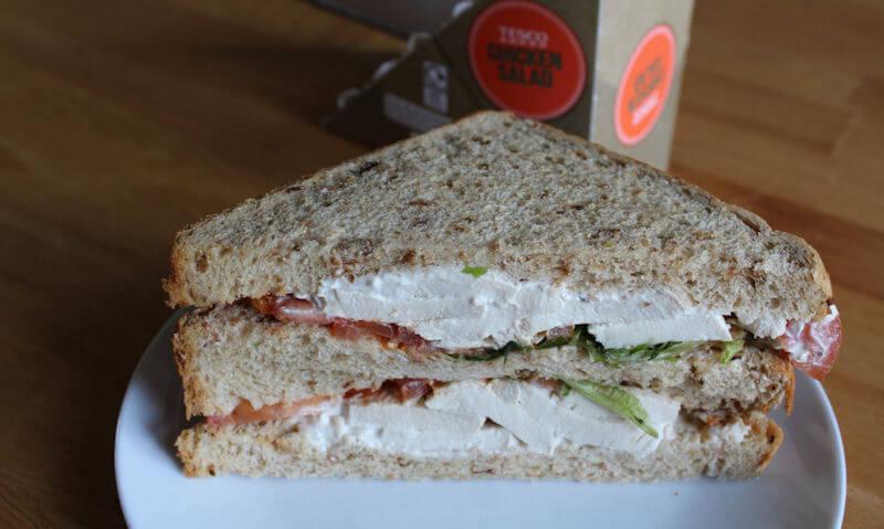 Tesco Chicken Salad Sandwich, sandwich on display