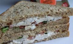 Tesco Chicken Salad Sandwich, close up shot