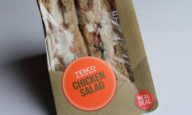 Tesco Chicken Salad Sandwich, label of packaging