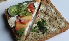 Tesco Chicken Salad Sandwich, opened up