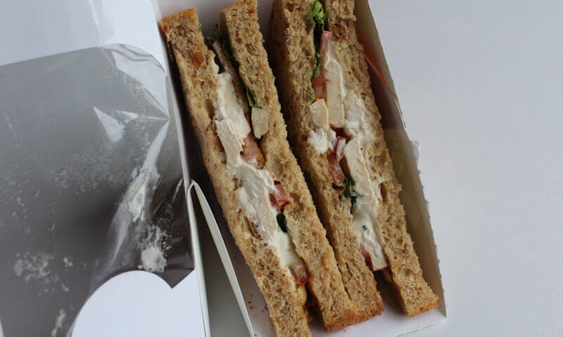 Tesco Chicken Salad Sandwich, opened up salad