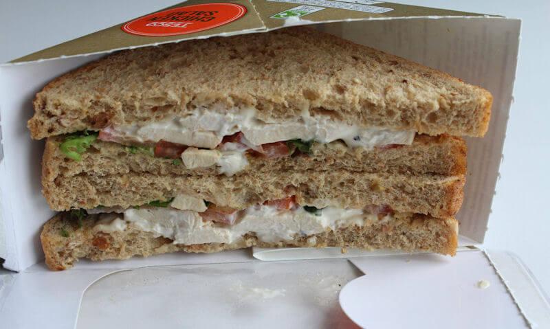 Tesco Chicken Salad Sandwich, side view sandwich