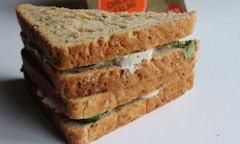 Tesco Chicken Salad Sandwich, salad spilling over