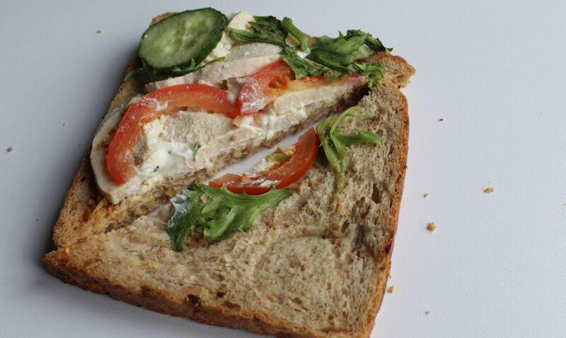 Tesco Chicken Salad Sandwich, salad wide shot