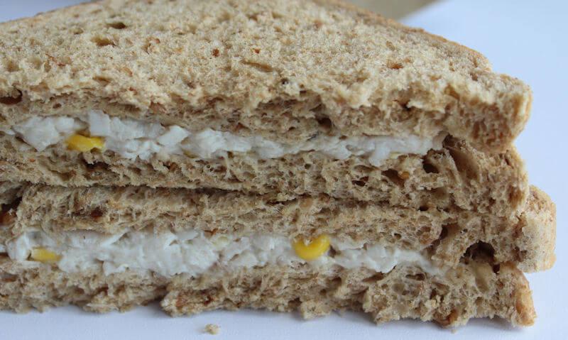 Tesco Chicken & Sweetcorn Sandwich, single corn seen