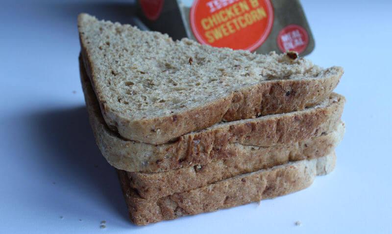 Tesco Chicken & Sweetcorn Sandwich, crust angle