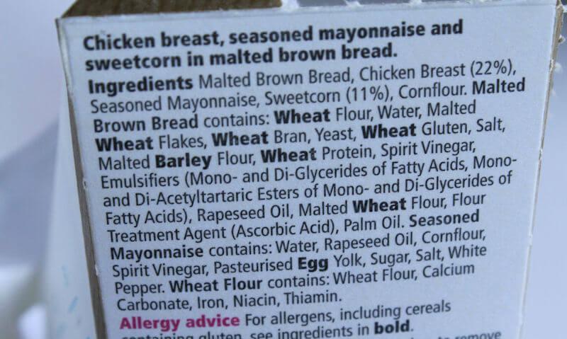 Tesco Chicken & Sweetcorn Sandwich, sandwich packaging label