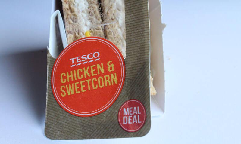Tesco Chicken & Sweetcorn Sandwich, opened package