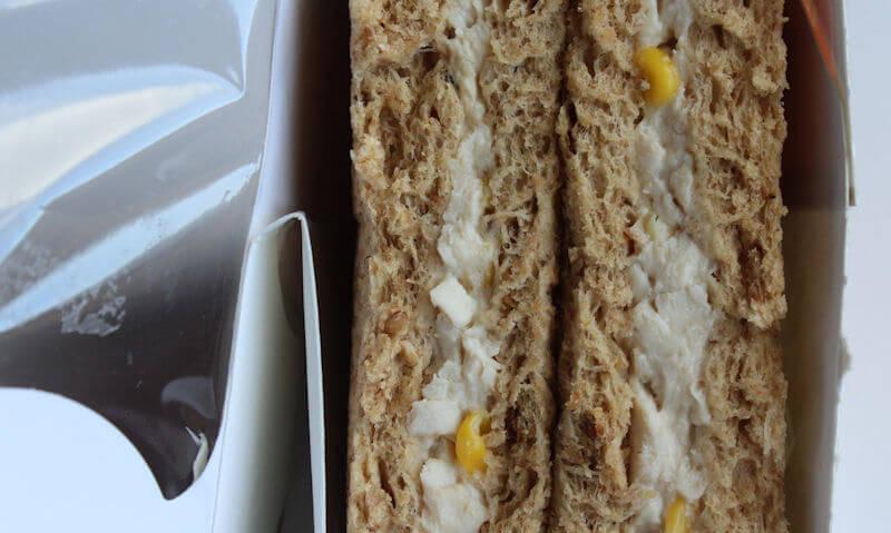 Chicken & Sweetcorn Sandwich, open box