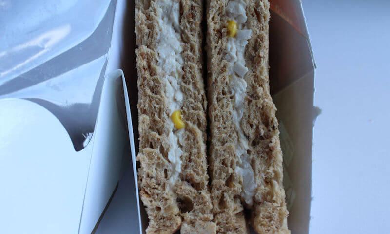 Tesco Chicken & Sweetcorn Sandwich, rip open