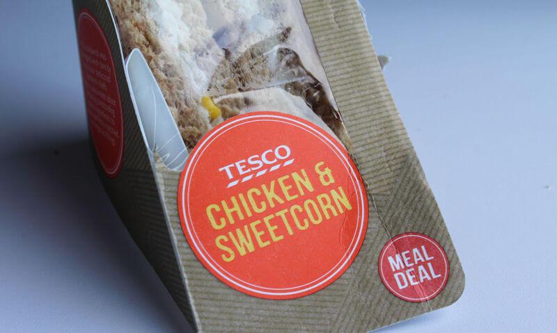 Tesco Chicken & Sweetcorn Sandwich, ripped package