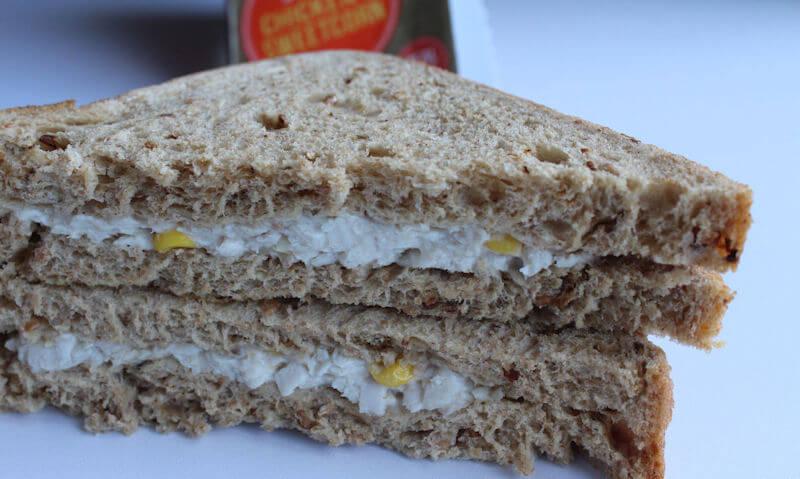 Tesco Chicken & Sweetcorn Sandwich, stacked up sandwiches