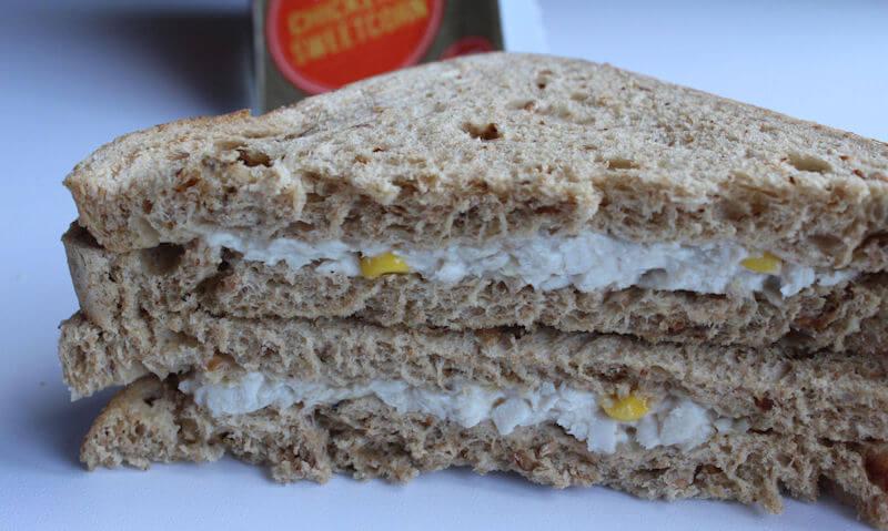 Tesco Chicken & Sweetcorn Sandwich, two slices