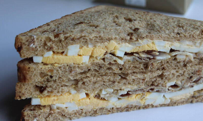 Tesco Egg & Bacon Sandwich, stacked up slices