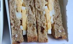 Tesco Egg & Bacon Sandwich, egg, bacon corners