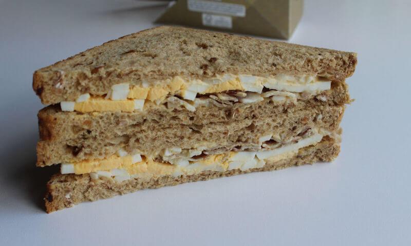 Tesco Egg & Bacon Sandwich, grilled bacon