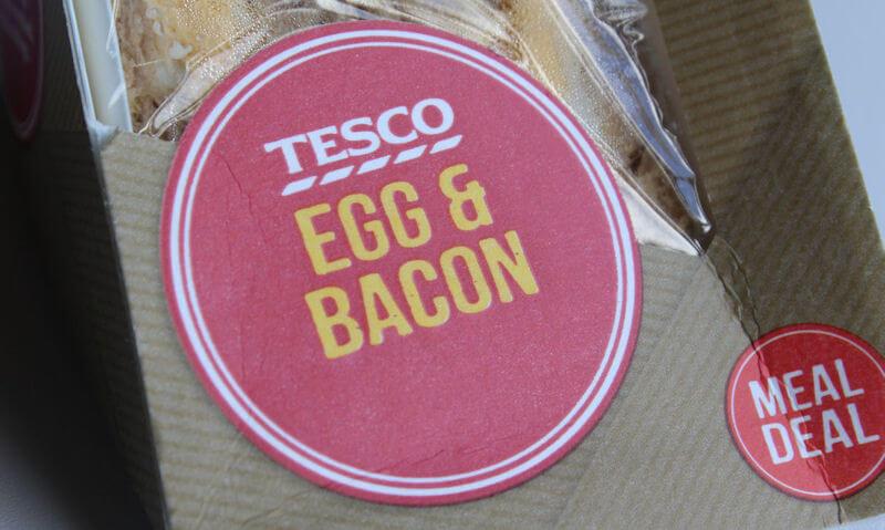 Tesco Egg & Bacon Sandwich, packaging