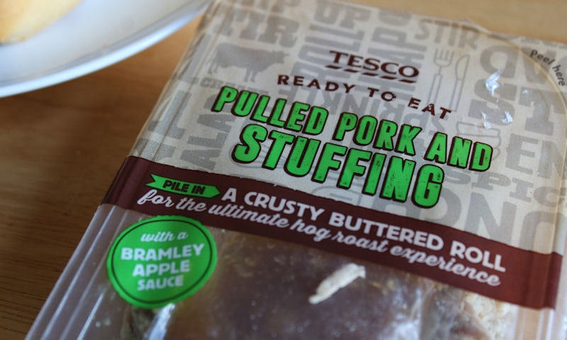 Tesco pulled pork and stuffing close up