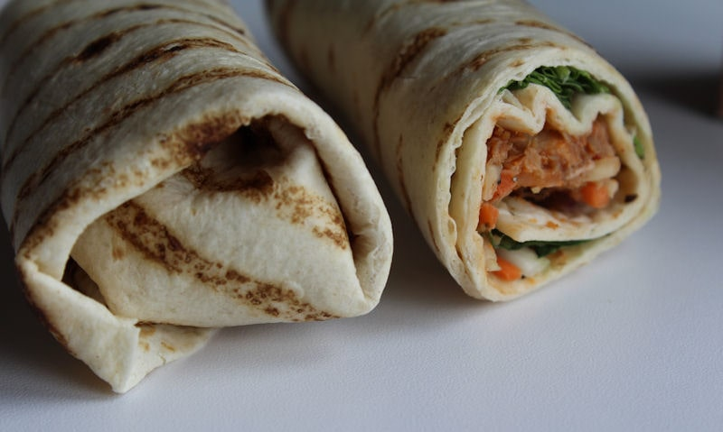 Close up and back view of tortilla wrap