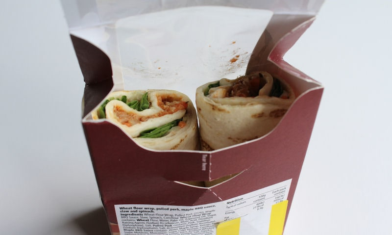 Opened packet with wrap showing