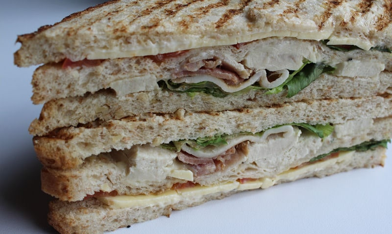 Close up view of club sandwich