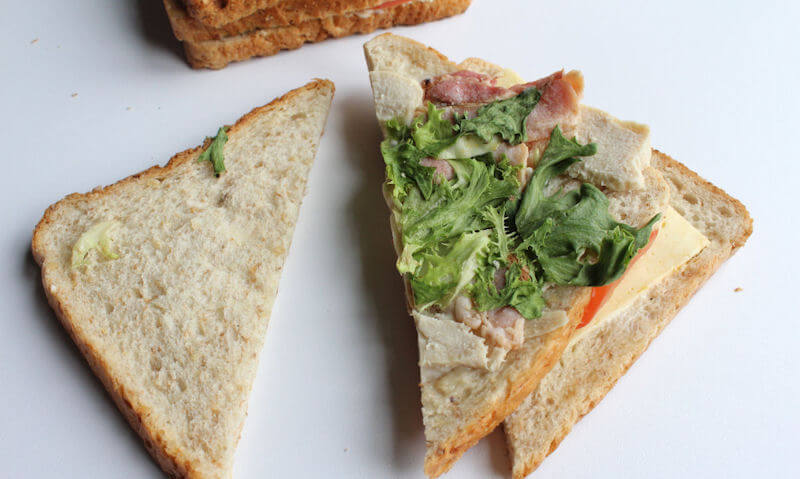 The Chicken Club Sandwich, lettuce on bread