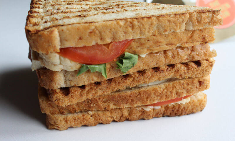 The Chicken Club Sandwich, stacked up bread