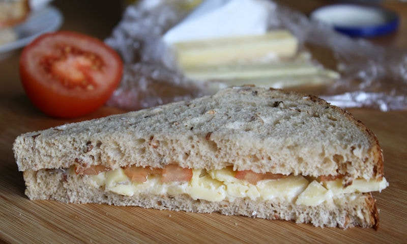 Tomato, cheese sandwich in a wholemeal bread
